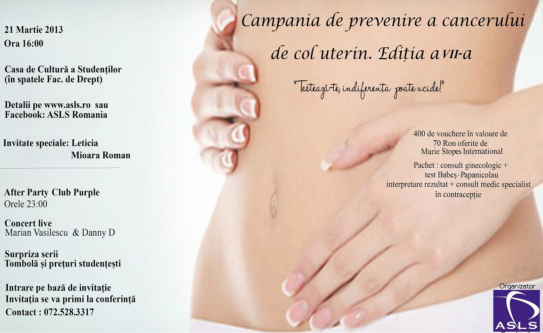 Campania de prevenire a Cancerului de Col Uterin – CCU 2013