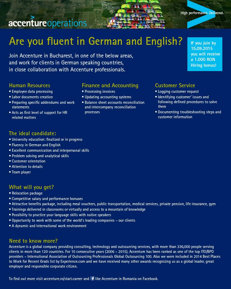 Accenture angajează vorbitori de germană şi engleză