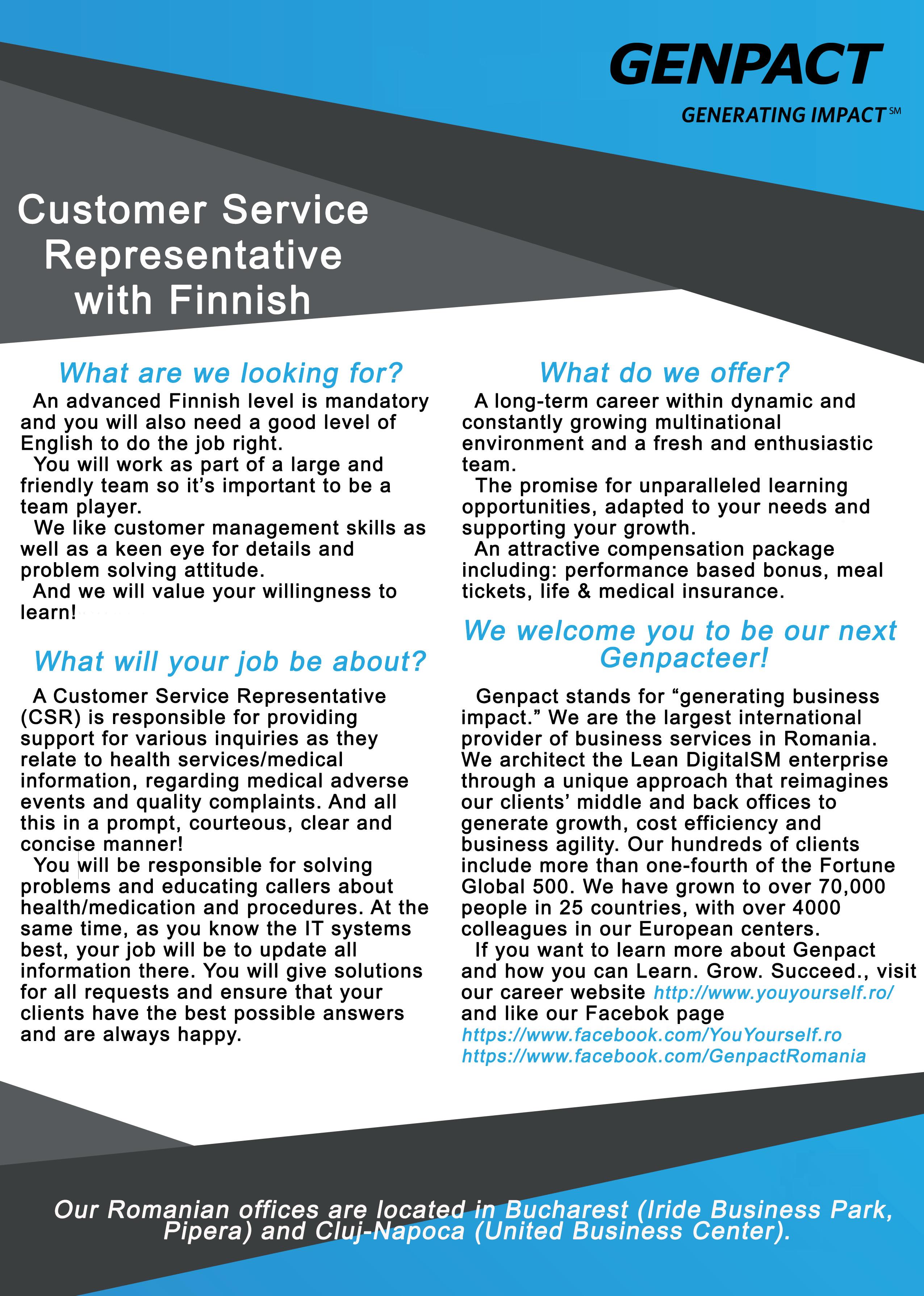 Customer Service Representative with Finnish