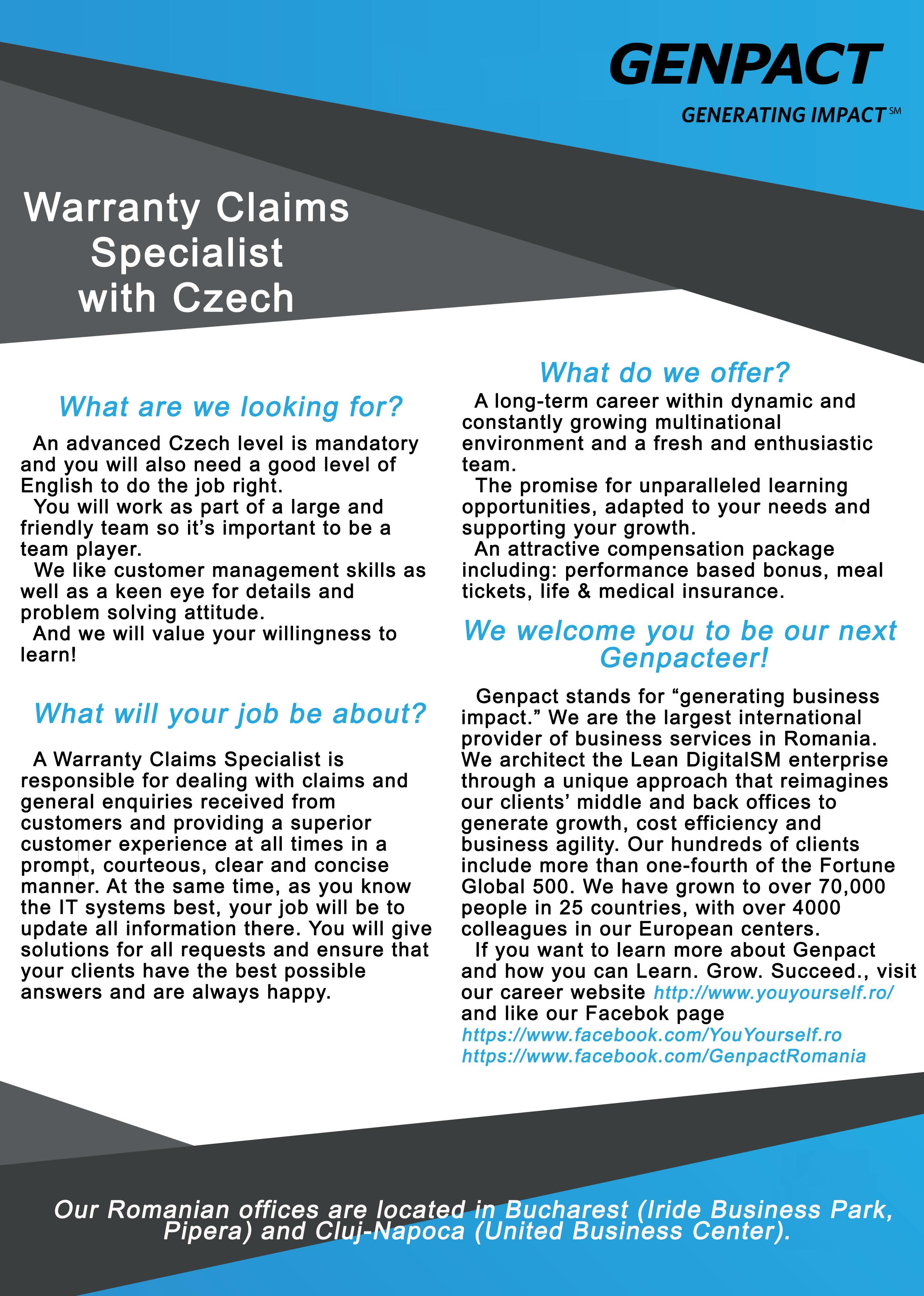 Warranty Claims Specialist with Czech