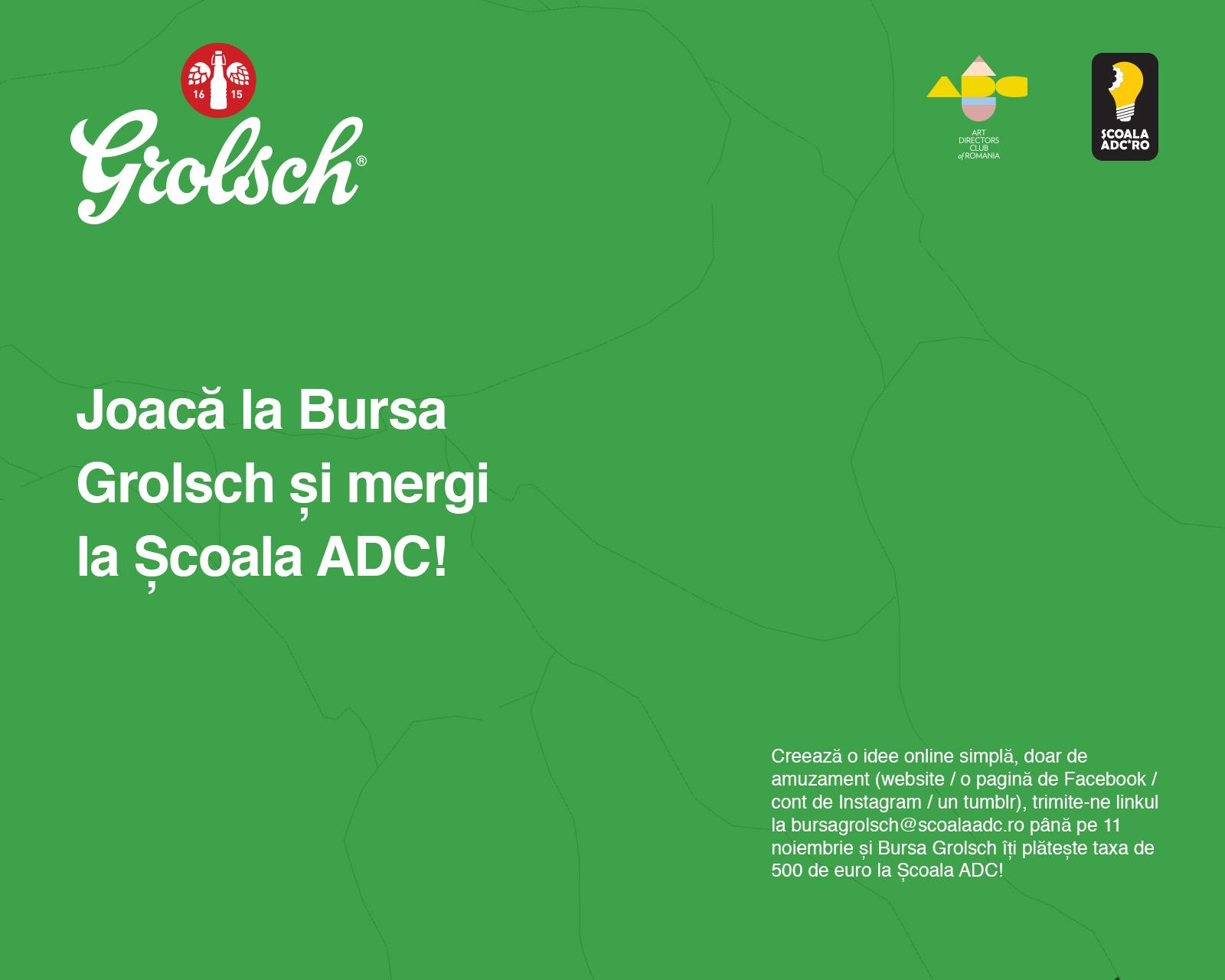 Grolsch oferă o bursă pentru Școala ADC*RO 2017