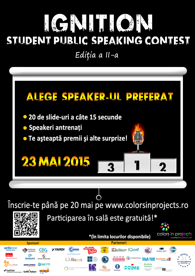 IGNITION – Student Public Speaking Contest, Ediția a II-a 23 Mai 2015