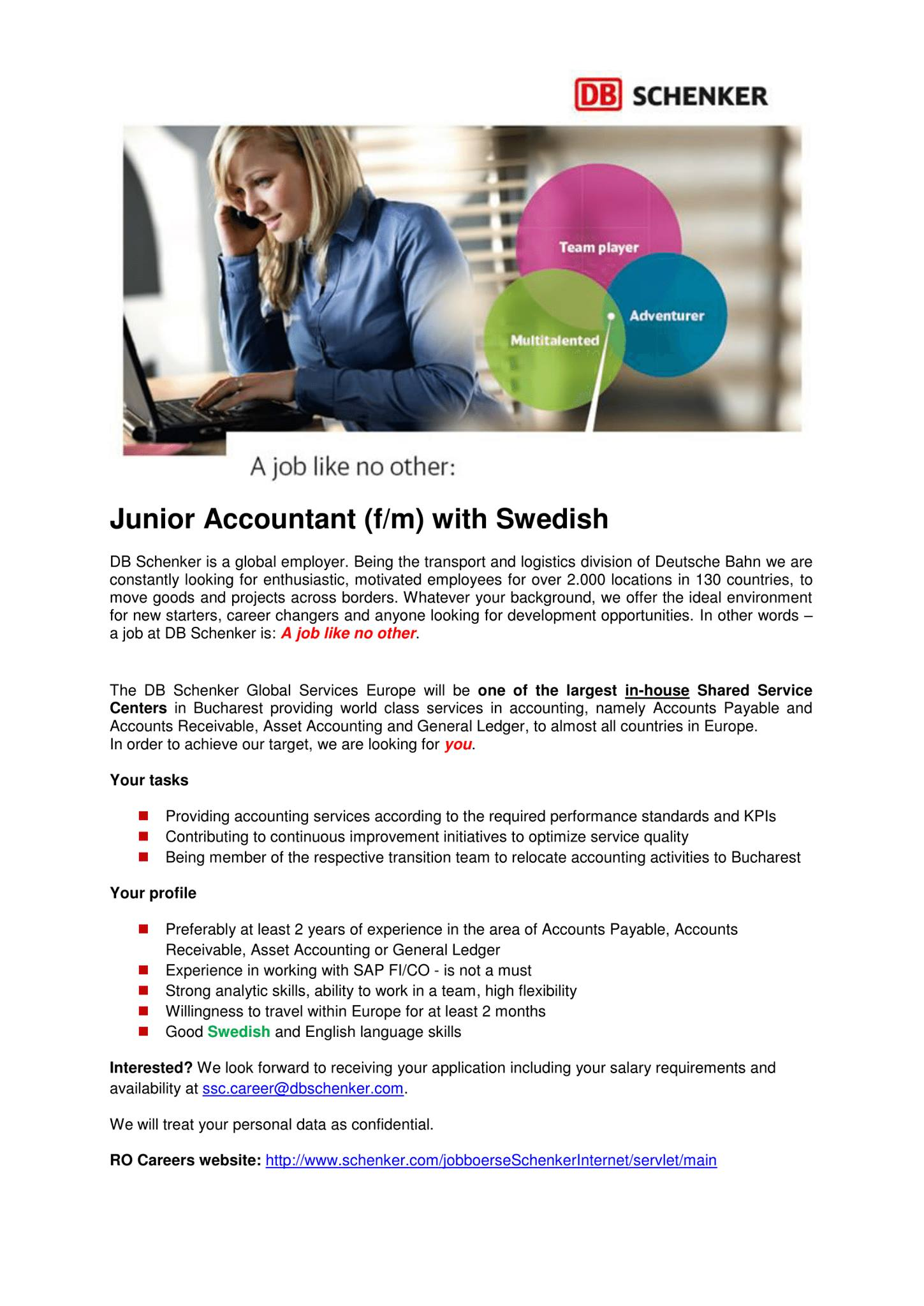 A job like no other: Junior Accountant with Swedish