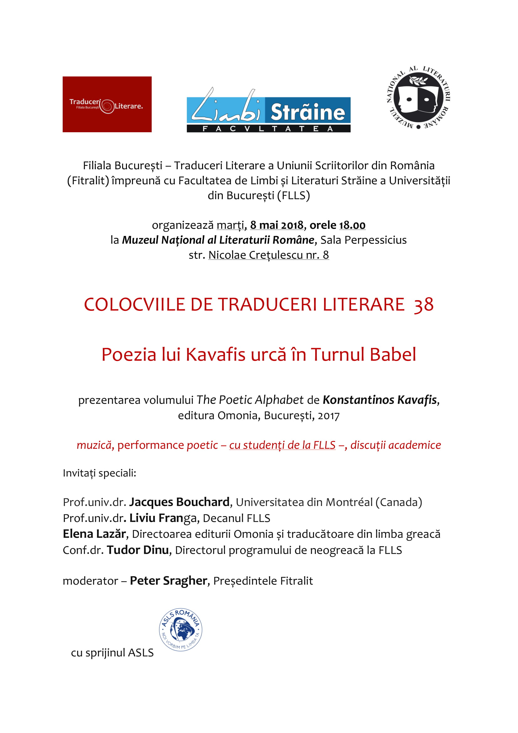 COLOCVIILE DE TRADUCERI LITERARE 38 – Poezia lui Kavafis urcă în Turnul Babel